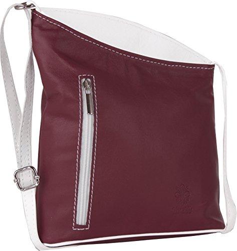 LiaTalia Womens Small Leather Bag - Mini 100% Genuine Soft Leather Cross Body Cross-Body Shoulder Handbag - Cute Handmade Trendy & Leightweight Purse - JOY - Red - White Trim