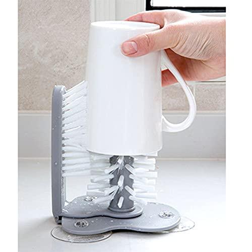 MAJFK Copa de vidrio Cepillo de limpieza Copa de vidrio Limpiador de cepillo con ventosas de pie Botella de vidrio taza cepillo limpiador de cocina lavado herramientas de limpieza
