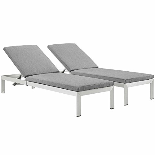 Modway Shore Aluminum Outdoor Patio Two Chaise Lounge Chairs with Cushions in Silver Gray
