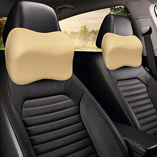 MONALA Almohada de espuma viscoelástica espacial, reposacabezas de asiento de coche, cojín de cuello, almohada de cuello de coche, utilizado en coches, casas y oficinas (té de leche con albaricoque)