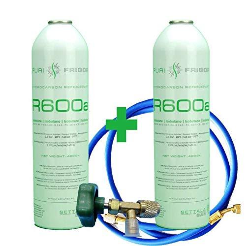 REPORSHOP - 2 Botellas Gas Refrigerante R600 + Manguera + Valvula 420Gr Isobutano