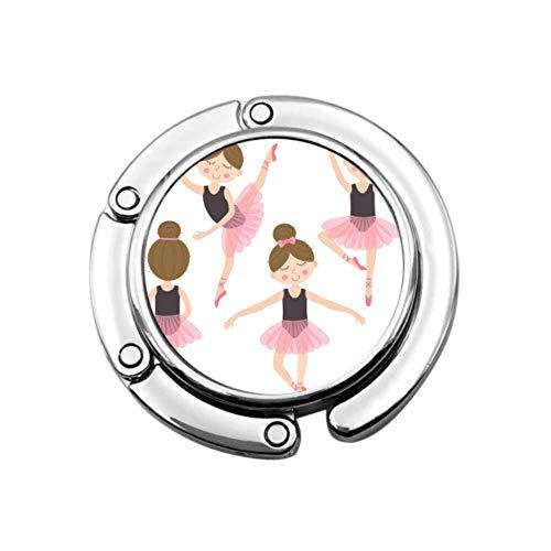 Percha para Bolsos de niña Rosa Bailarina Bonita para colgadores de Mesa, Bolso, diseños únicos, sección Plegable, Almacenamiento, Perchero portátil