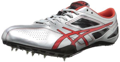 ASICS Men's Sonicsprint Track Shoe,Silver/Fire Red/Black,10.5 M US