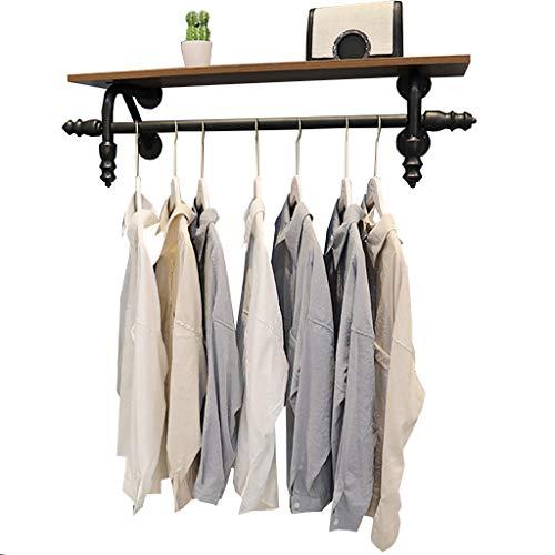 Cdbl-ijzeren kleding rekken vintage ijzer kledinghangers Multifunctionele wandplanken tentoonstelling stand boekenplank ophangsysteem 4 maten (grootte: 120 × 25 cm) kledinghaken