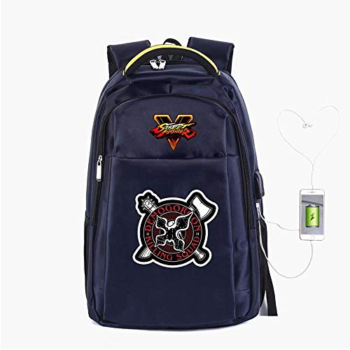 Backpack School Stranger Things Printed College Laptop Bag For Adults/Elementary/middle School Students With USB Charging Hole Blue-19 inches