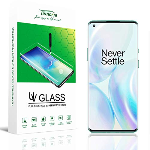 Tamoria Oneplus 8 Glass Screen Protector 0.2MM 3D Curved Tempered Glass Fingerprint Sensor Compatible Screen Cover UV Screen Protector for Oneplus 8 5G Accessories