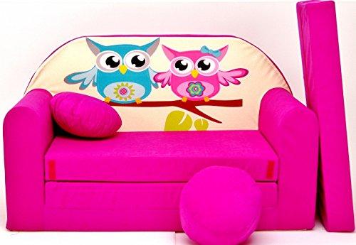 PRO COSMO H30Kinder Sofa Bett mit Puff/Fußbank/Kissen, Stoff, pink, 168x 98x 60cm
