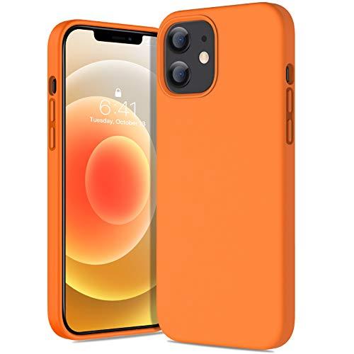 Miracase Coque Compatible avec iPhone 12/12 Pro, Silicone Liquide étui Rigide de Protection Hybride à Triple Couche Housse Antichoc (Orange)