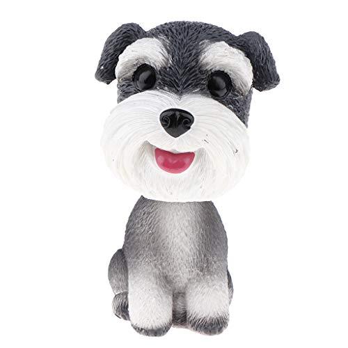 FLAMEER Mini Wackelkopf Welpe Hund Haustier Figur Spielzeug für Auto Armaturenbrett Dekoration - Schnauzer