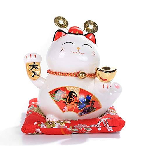 WGD Dong 6 Inch Ceramic Maneki Neko Ornament, Lucky Cat Money Box Fortune Cat Piggy Bank, Feng Shui Animal Sculpture Figurine Home Decoration (Color : C)
