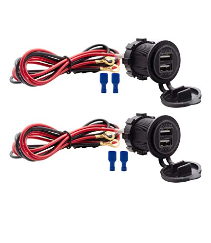 Dual USB Charger Socket Waterproof Power Outlet 12V/24V 2.1A & 2.1A for Car Boat Marine RV Mobile Blue LED