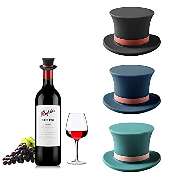 Magic Cap Decorative Wine and Beverage Bottle Stoppers Silicone Bottle Top Cover Novelty Cork Replacement Beverage Wine Keeper Champagne Bottle Stoppers Spill Proof Set of 3 Blue & Black & Green