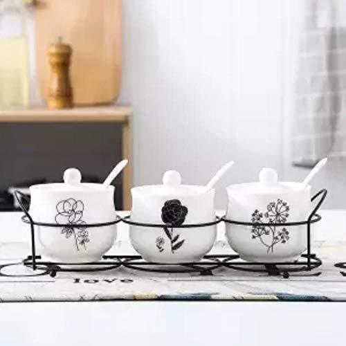 NTR Dreiteilige Gewürzdose Keramik Gewürzglas Vierteilige Box Küche Gewürzflasche Gewürz Salzstreuer 3-teiliger Anzug4