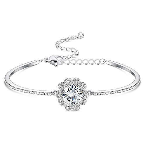Sllaiss 18K White Gold Plated Infinity Bracelet Czech Crystals Flower Love Knot Bracelet Adjustable Bangle Bracelet for Women for Valentine's day Anniversary