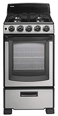Danby Designer 20-in. Gas Range with Sealed Burners, Electric Ignition and 2.3-Cu. Ft. Oven Capacity in Stainless Steel/Black