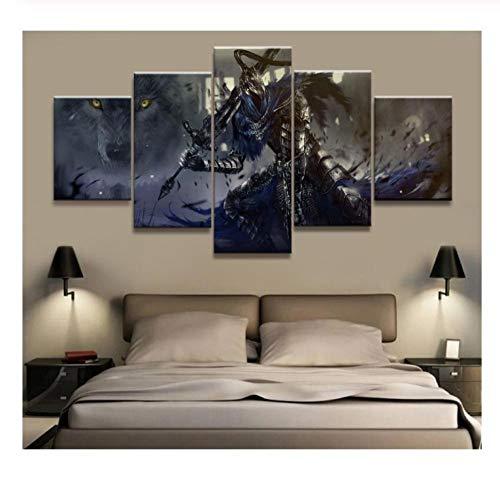 IDzf 5 Panels Bild Dark Souls Warrior Leinwanddruck Gemälde Kunstwerk Wandkunst Leinwandbild
