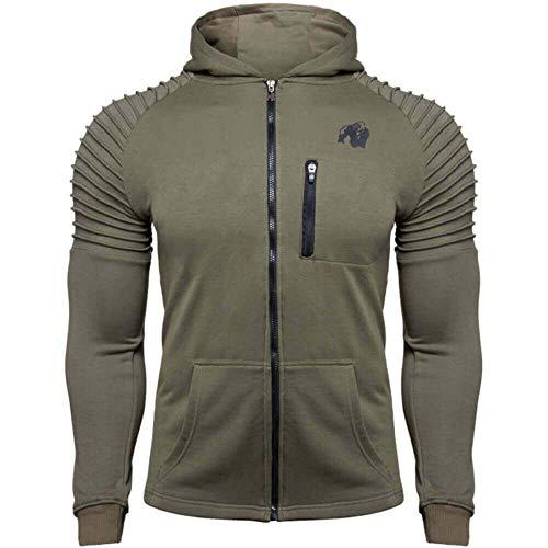 GORILLA WEAR Delta Hoodie - Bodybuilding und Fitness Jacke für Herren, grün, XXL