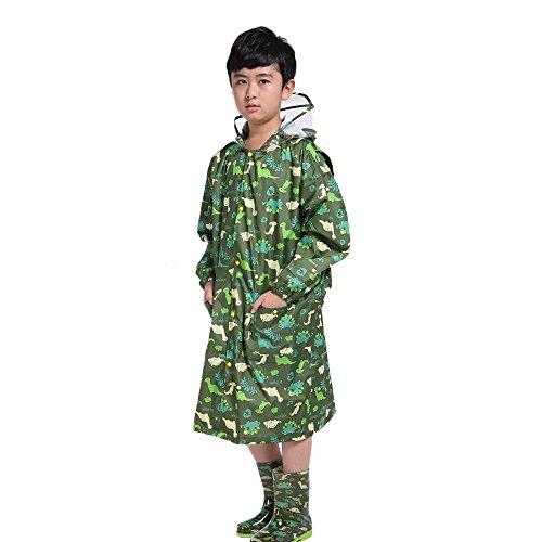 ROGF Bambini Raincoat for i Bambini, Raincoat Siamese Poncho Belt Bag Impermeabile Verde Cartoon Dinosaur Raincoat per Le attività all'Aria Aperta (Size : L)