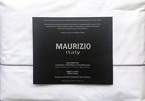 Maurizio Italy 4pc Sheet Set Solid White with a Thin Raised Dark Gray Stripe Along Hem 100% Cotton Luxury (King)
