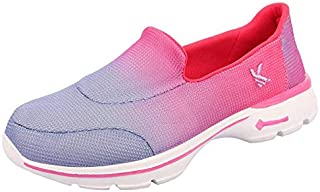 KazarMax Women's Pink & Purple Slipon's Walking Sneakers (Made in India)