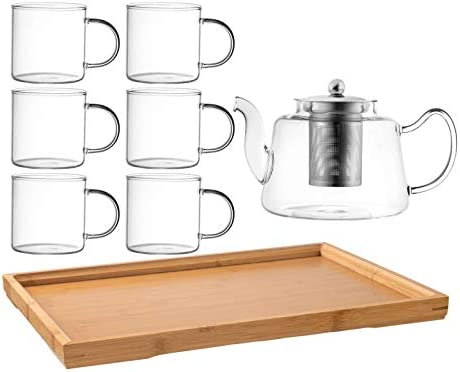Royalty Art Vintage Glass Tea Set with Cups Kettle Pot with Leaf Infuser and Wood Serving Tray product image