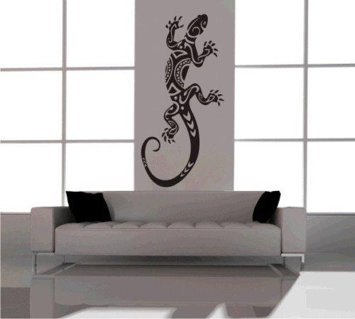 Gecko Maori Aufkleber Wandbild Wandtattoo in 27 Farben und Verschiedene Größen (ca. 70 cm x 33 cm) Schwarz