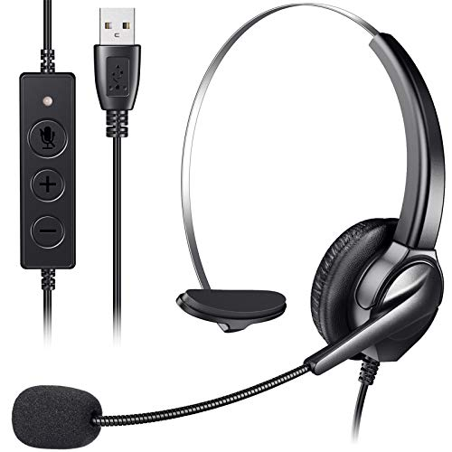 Great Deal! Monaural USB Headset, Yme Business Computer Headphone Stereo Noise Cancelling Earphone w...