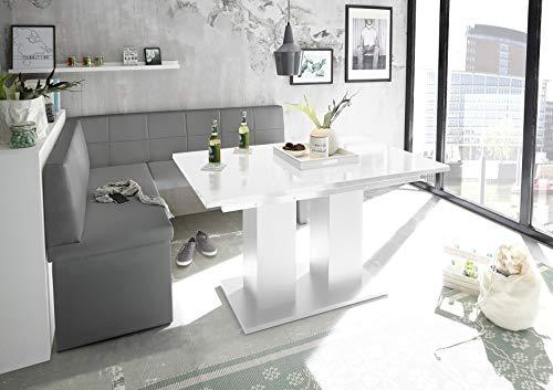 Reboz hoekbankgroep grijs hoekbank eettafel wit kunstleer 128 x 168 cm hoogglans 128 x 168 cm links grijs