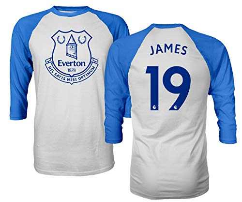 Spark Apparel Merseyside Blue #19 James Rodriguez Jersey Style Men's Quarter Sleeve Raglan T-Shirt (Royal, Large)
