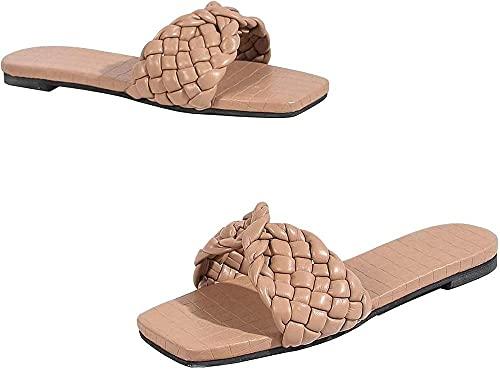 rewikie Sandalias planas cuadradas con punta abierta, lindas sandalias planas acolchadas de una sola banda, correa trenzada entrecruzada de tacón bajo, zapatilla Camel_39