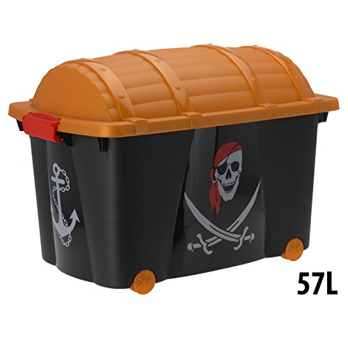 Spielzeugkiste Spielzeug Aufbewahrungsbox Rollbox Schatztruhe Pirat 60x40x42cm