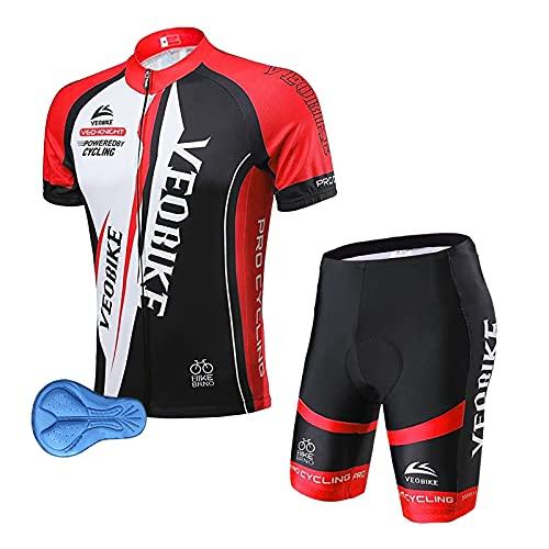 XM Abbigliamento Ciclismo da Uomo Maglia Manica Corta Pantaloncini Magliette Ciclismo Gel 9D Ad Asciugatura Rapida Traspirante (rosso, L)