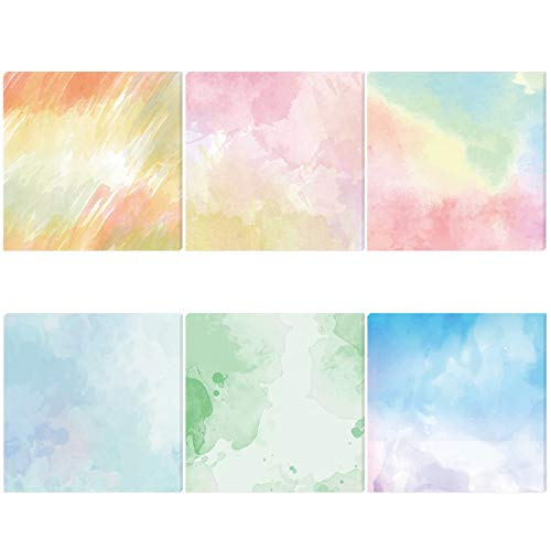 6 Pack Watercolor Adhesive Sticky Note Pads 3.5x3.5 Inch Self-Stick Note for Office Home School