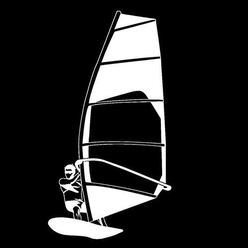 TMANQ 8,2 cm x 15,1 cm Moda Velero Deportes Acuáticos Vinilo Pegatinas Coche Silueta Negro/Plata Decoración -B