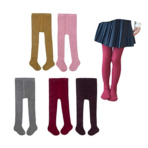 5 Pack Baby Kids Girls Cable Knit Tights Cotton Solid Leggings Stocking Pants Pantyhose 6-8T