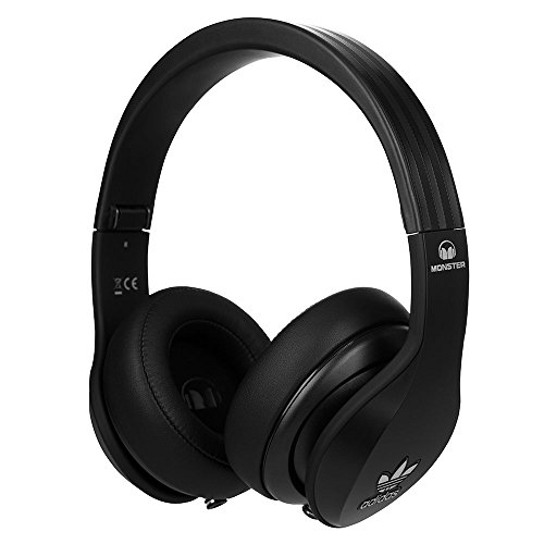 Monster Adidas Originals Headphones with Mic/Remote (Noise isolating Over-Ear Headphones, Music Share dual ports, Pure Monster Sound & Travel Pouch)