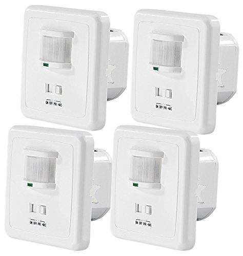 revolt Lampe Klatschsensor: 4er-Set Automatische Lichtschalter mit PIR- und Akustik-Sensor (Lichtschalter Klatschsensor)
