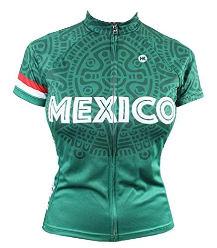 Mexico Cycling Jersey Collection (Mexican Flag, Dia De Los Muertos Sugar Skulls Cycling Apparel (Women's Mexico, Medium)