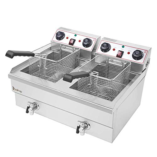 23.6 L Deep Fryers,Electric Commercial Deep Fryer with Double Basket Large Countertop Stainless Steel 2 Baskets Deep Fryers French Fries Fish