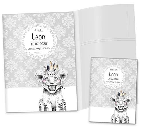 U-Heft Hülle 3-teilig Set Black & White Löwe Untersuchungsheft Hülle & Impfpasshülle schöne Geschenkidee personalisierbar mit Namen und Geburtsdatum (U-Heft Set 3-teilig personalisiert, Löwe)
