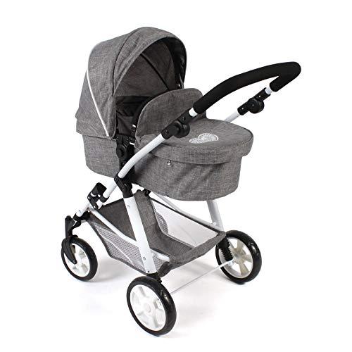 Bayer Chic 2000 568 76 Kombi-Puppenwagen Nele, 2-in-1 für Baby-Puppen bis 50 cm, Jeans grau