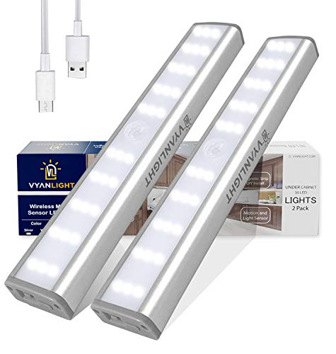 LED Closet Light Motion Activated, Cordless Under Cabinet Motion Sensor Light, Wireless Stick-on Anywhere Rechargeable Lights, 4-Mode 30 LED Dimmable Night Light for Closet Hallway Stairway (2 Pack)