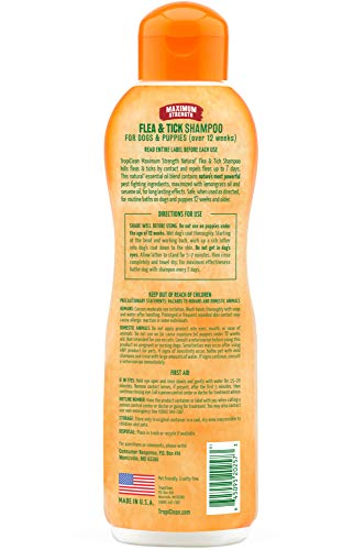 TropiClean Natural Flea & Tick Maximum Strength Shampoo for Dogs, 20oz - Pet-Safe Treatment - Kills up to 99% of Fleas, Ticks, Larvae, Eggs by Contact - Soap Free - Made with Essential Oils