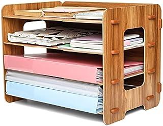 EXERZ Organiseur De Fichiers En Bois 4 Niveaux Pour Rangement De Bureau, Fournitures, Devoirs D'étudiant, Travail Scolair...