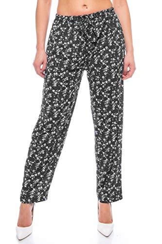 Crazy Age Damen Hosen Lang Bedruckt Sommerhose Yogahose Stil mit Elastischen Bund Freizeithose Einkaufshose Blumenhose Blümchen (Schwarz-Weiß(21), 3XL)