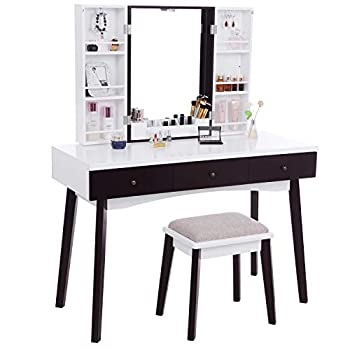 BEWISHOME Vanity Set with Mirror Cushioned Stool Storage Shelves Makeup Organizer 3 Drawers White Makeup Vanity Desk Dressing Table FST05W