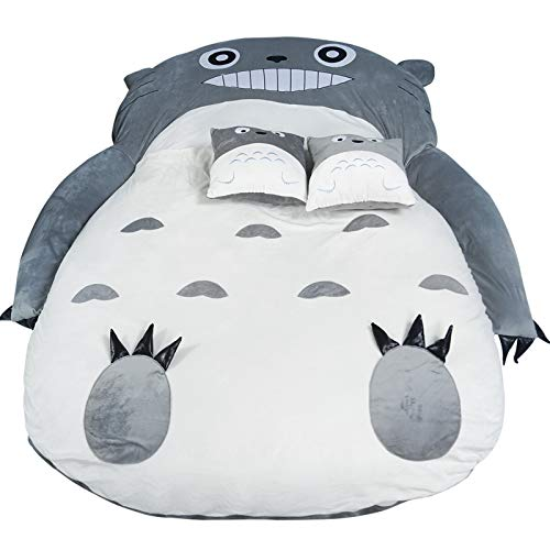 MUY My Neighbor Totoro Mattress, Lazy Sofa Bed Plush Totoro Sleeping Bag Sofa Bed Double Foam Beanbag Cartoon Mattress Cushion,0.8 * 1.2m