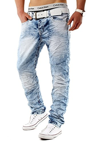 ArizonaShopping Jeansnet Herren Jeans Hose Acid Washed Slim Fit H584, Größen:W30