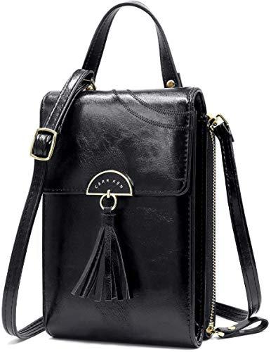 NoChoX - Bolso de mano para mujer, bolso bandolera, monedero con muchos compartimentos, compartimento para tarjetas, correas ajustables para los hombros, Mujer, 2 Black, large