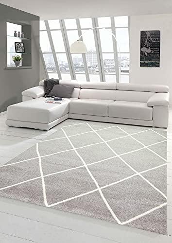 Teppich-Traum Alfombra de Salón Estilo Escandinavo y Diseño de Rombos - de fácil Cuidado - Gris Crema Blanco Größe 200 x 290 cm